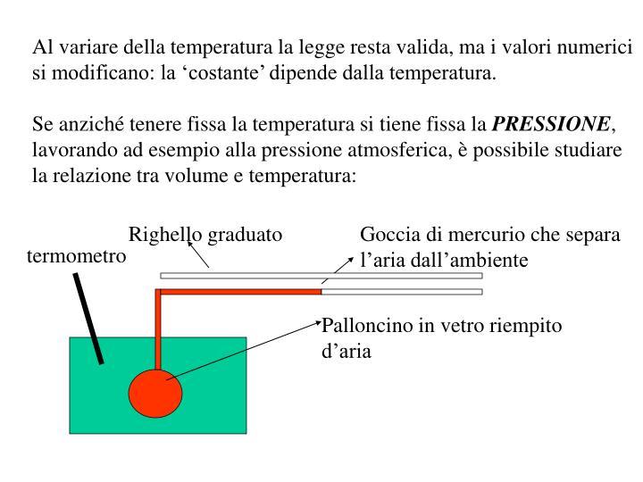 Al variare della temperatura la legge resta valida, ma i valori numerici