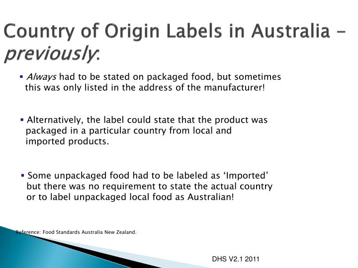 Country of Origin Labels in Australia -