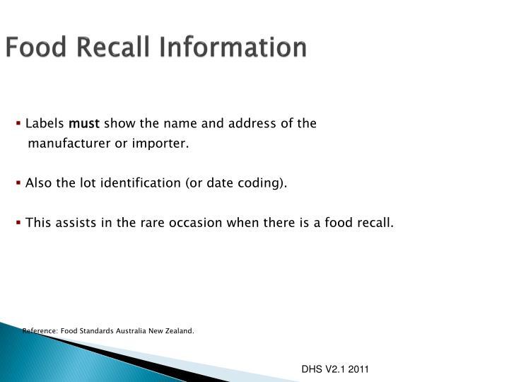 Food Recall Information
