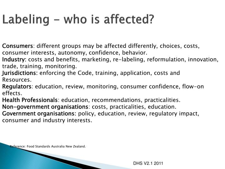 Labeling - who is affected?