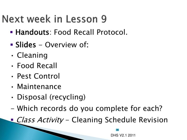 Next week in Lesson 9