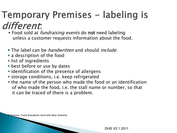 Temporary Premises - labeling is