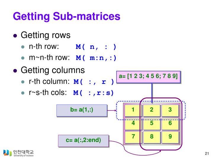 Getting Sub-matrices