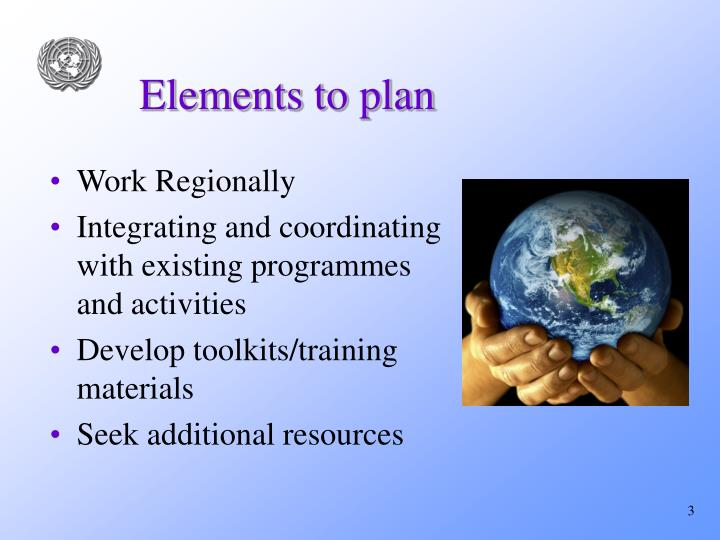 Elements to plan