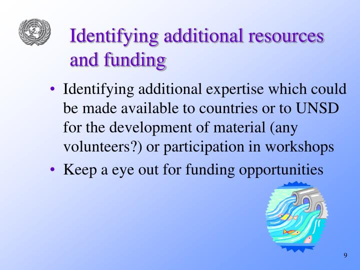 Identifying additional resources and funding