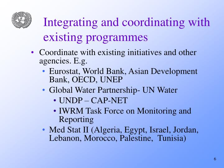 Integrating and coordinating with existing programmes