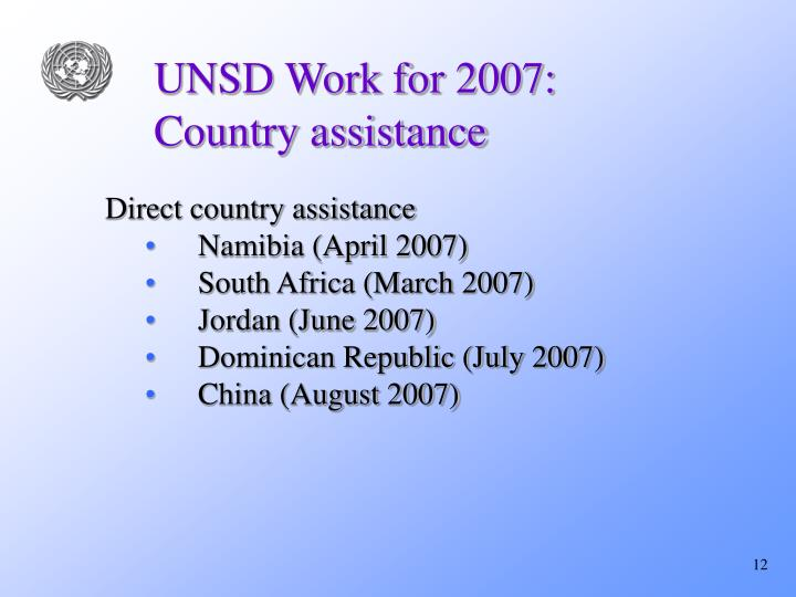UNSD Work for 2007: