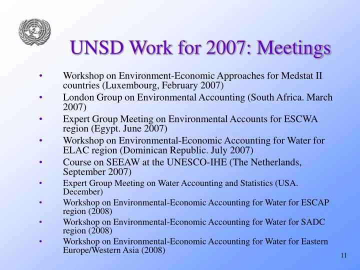 UNSD Work for 2007: Meetings