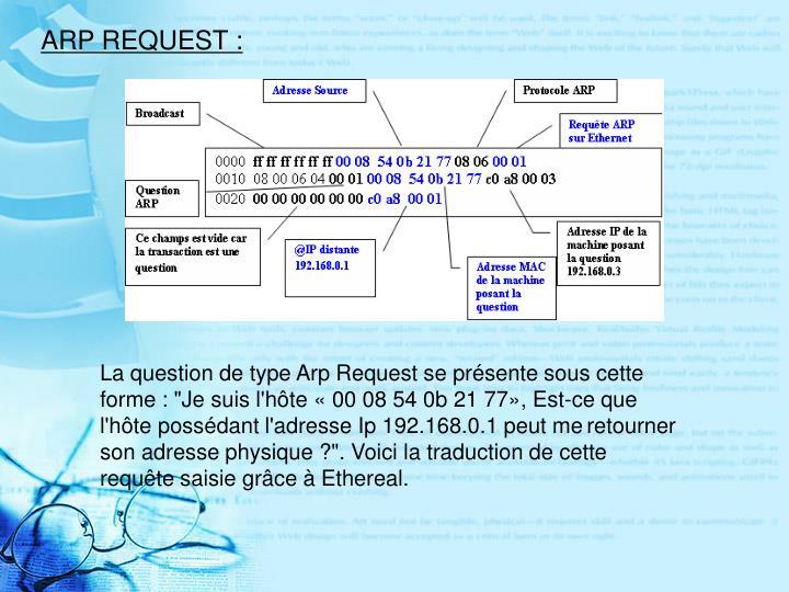ARP REQUEST :