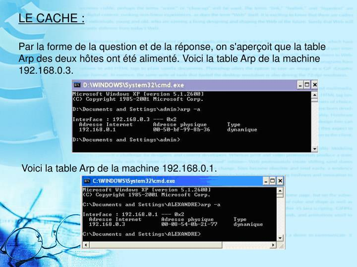 LE CACHE :