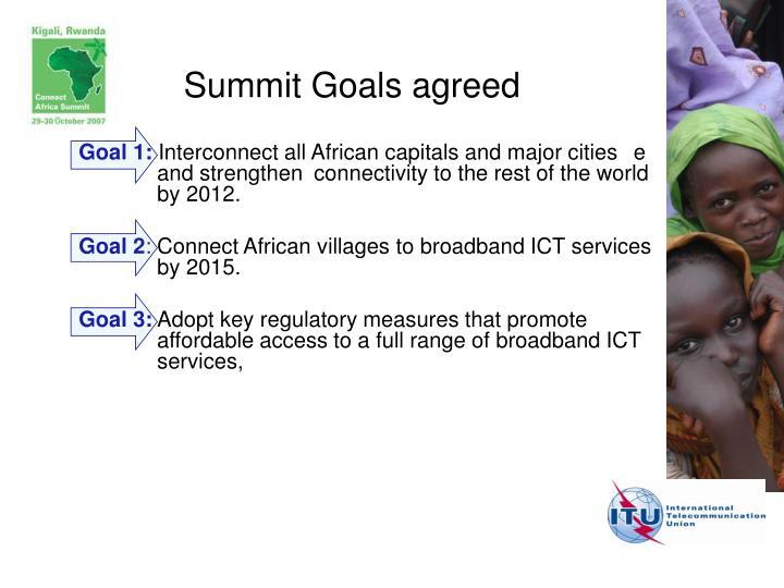 Summit Goals agreed