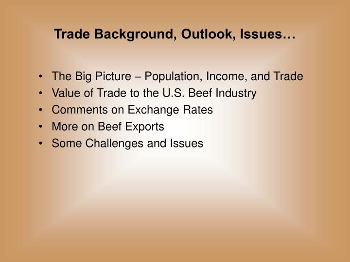 Trade Background, Outlook, Issues…