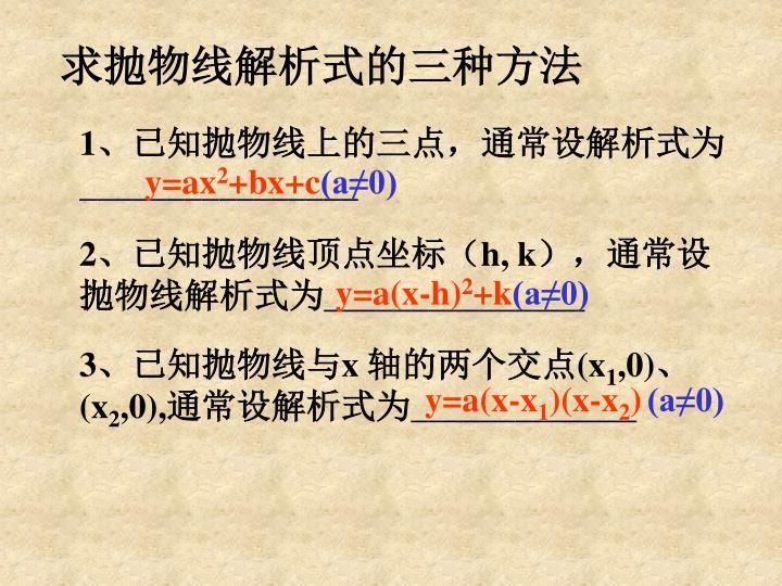 求抛物线解析式的三种方法