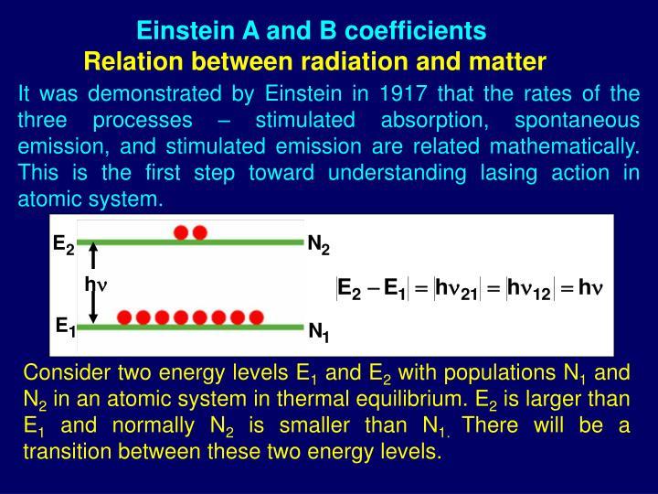 Einstein A and B coefficients