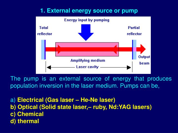 External energy source or pump