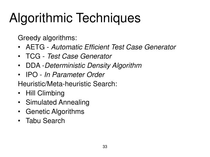 Algorithmic Techniques