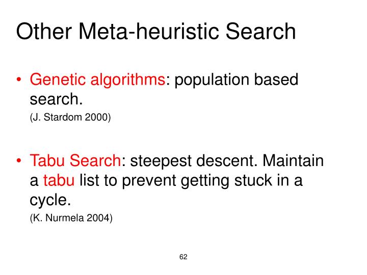 Other Meta-heuristic Search