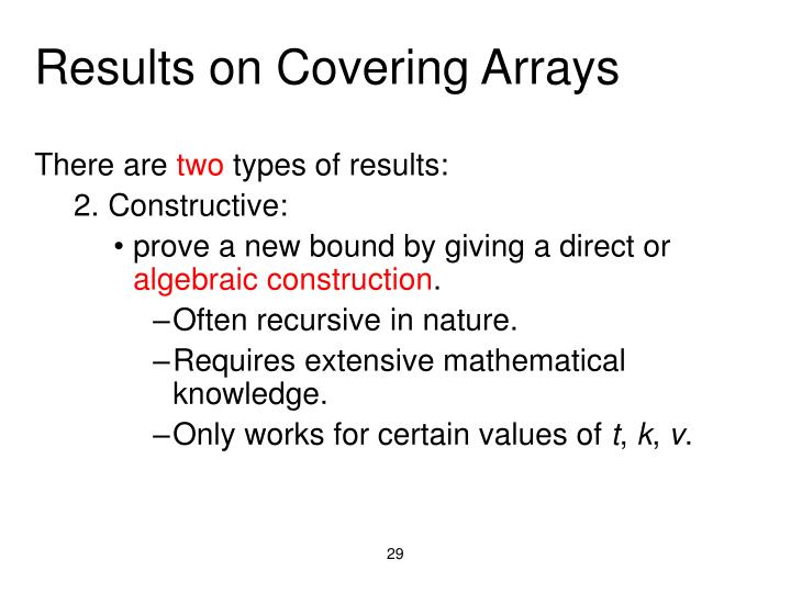 Results on Covering Arrays