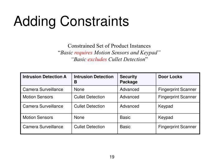 Adding Constraints