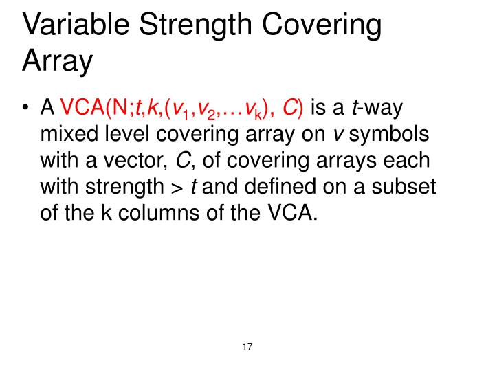 Variable Strength Covering Array