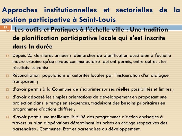 Approches institutionnelles et sectorielles de la gestion participative à Saint-Louis