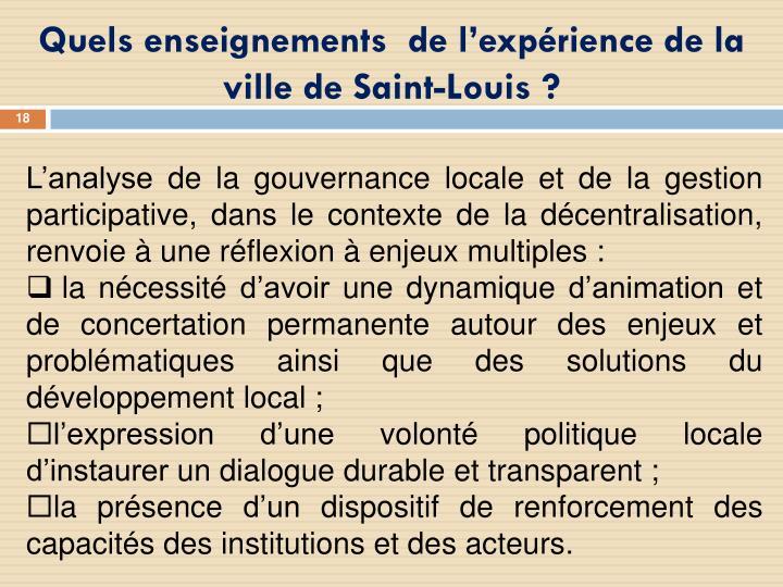 Quels enseignements de l'expérience de la ville de Saint-Louis?