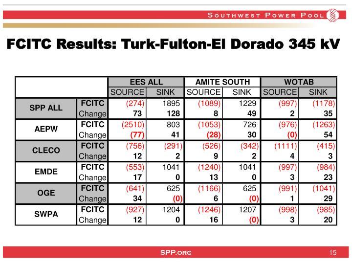 FCITC Results: Turk-Fulton-El Dorado 345 kV