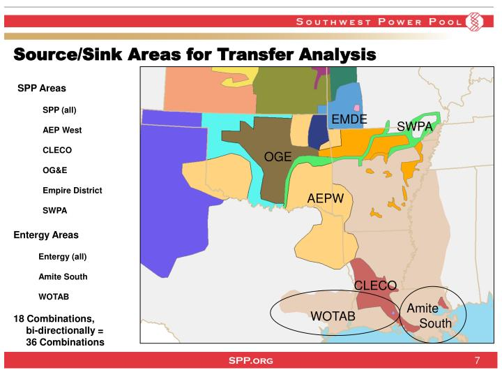 Source/Sink Areas for Transfer Analysis