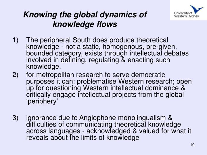 Knowing the global dynamics of knowledge flows