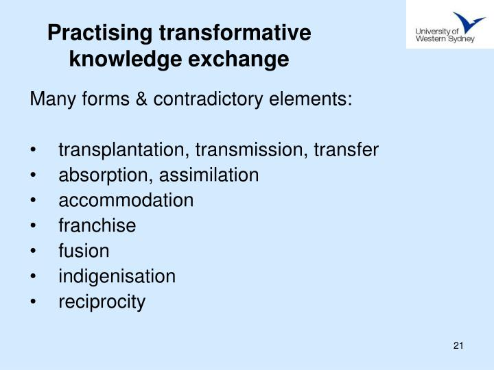 Practising transformative knowledge exchange
