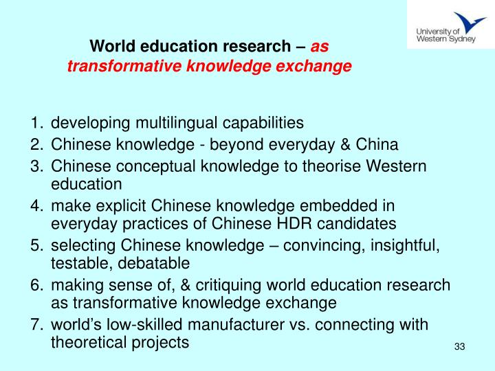 World education research –