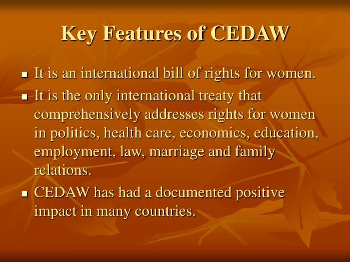 Key features of cedaw