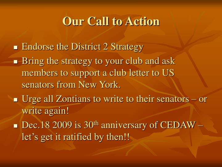 Our Call to Action