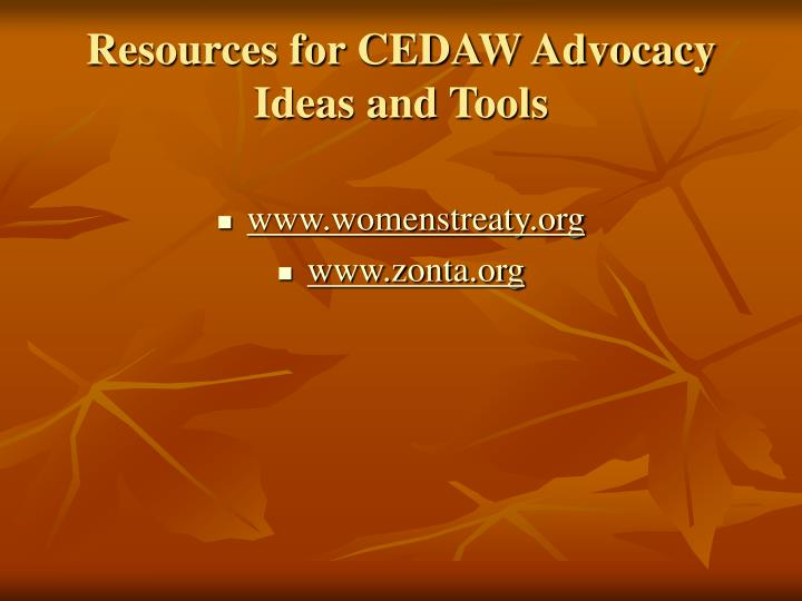 Resources for CEDAW Advocacy Ideas and Tools