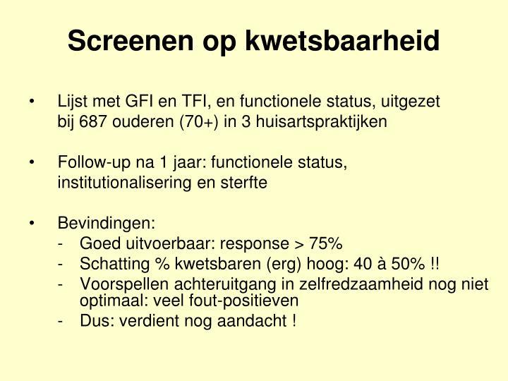 Lijst met GFI en TFI, en functionele status, uitgezet