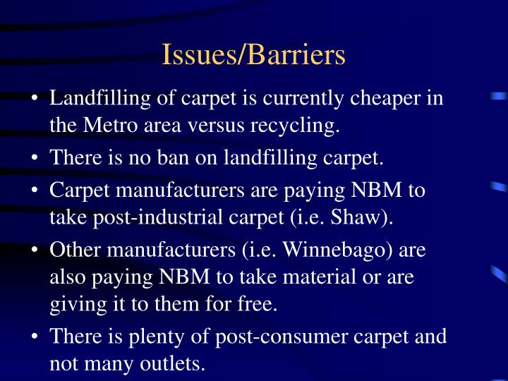 Issues/Barriers