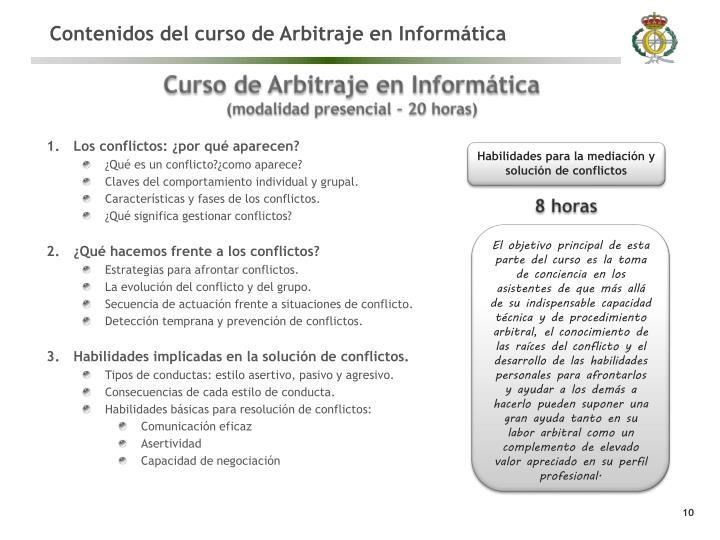 Contenidos del curso de Arbitraje en Informática