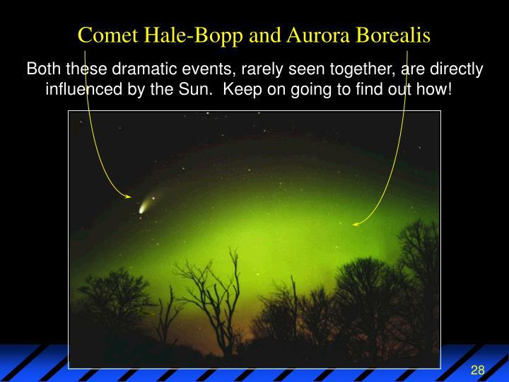 Comet Hale-Bopp and Aurora Borealis