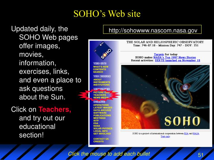 SOHO's Web site