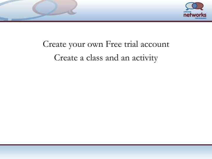 Create your own Free trial account