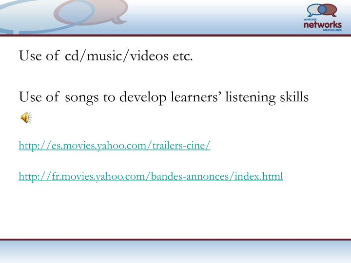 Use of cd/music/videos etc.