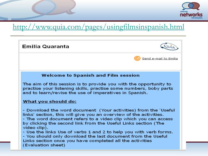 http://www.quia.com/pages/usingfilmsinspanish.html