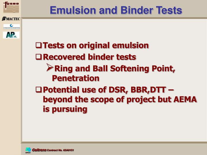 Emulsion and Binder Tests