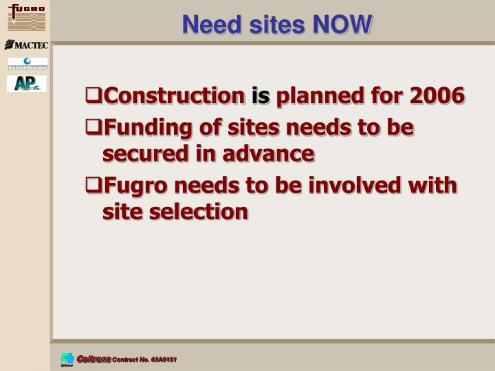 Need sites NOW