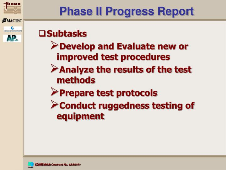Phase II Progress Report