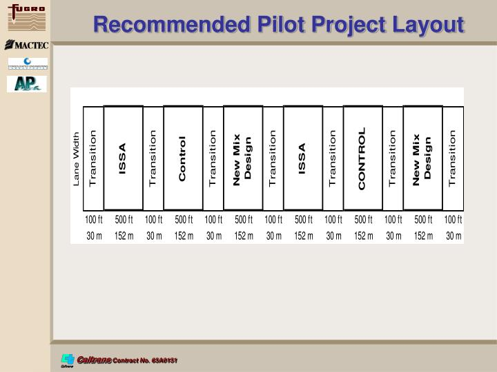 Recommended Pilot Project Layout