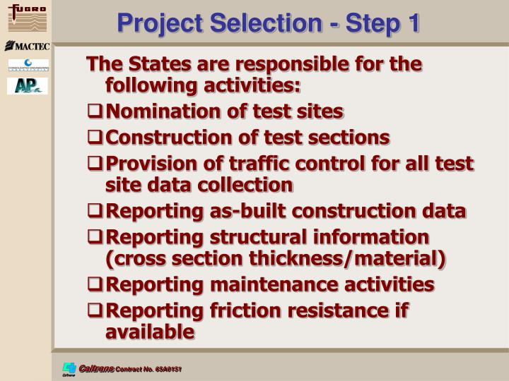 Project Selection - Step 1
