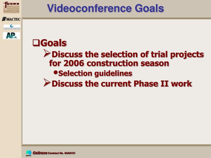 Videoconference Goals