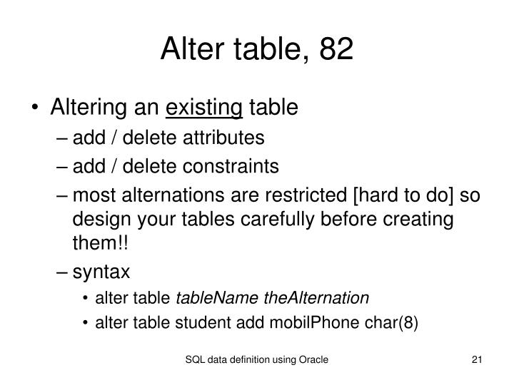 Alter table, 82