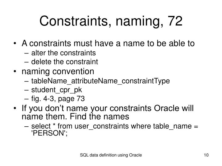 Constraints, naming, 72